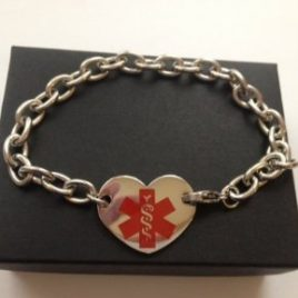 Stainless Steel Medical Alert 'Heart' ID Bracelet