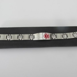 Mens Stainless Steel Medical Alert Bracelet (red alert design)