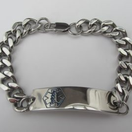 Mens Stainless Steel Medical Alert Bracelet (blue alert design)