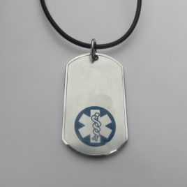 Silver Coloured with Blue Medical Alert Symbol with Black Cord