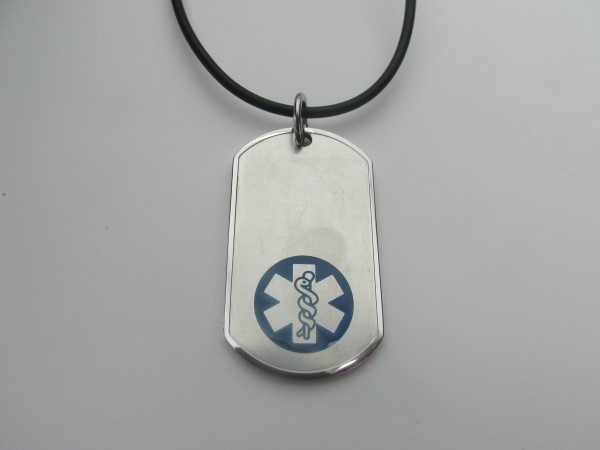 black chord silver and blue medical id