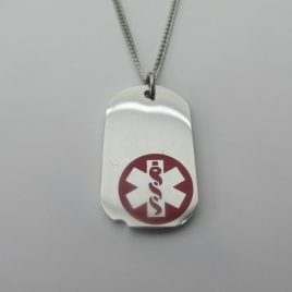 Silver Coloured with Red Medical Alert Symbol with Stainless steel chain