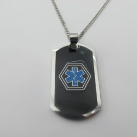 Black with Blue Medical Alert Symbol with Stainless steel chain