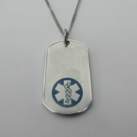 Silver Coloured with Blue Medical Alert Symbol with Stainless steel chain