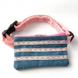 Pink Lace Denim Pump Pouch 16″ – 23″