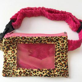 Pink Leopard Clear Screen Pump Pouch 16″- 23″