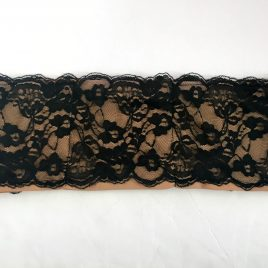 Black Lace over Nude Lycra Waistband (Small)