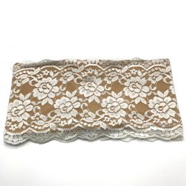 White Lace over Nude Lycra Waistband (Medium)