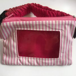 Pink Candy Stripe Clear Screen Pump Pouch 16″- 23″