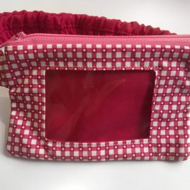 Pink Chequered Clear Screen Pump Pouch 16″- 23″