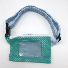 Mint Dotty Clear Screen Pump Pouch 16″-23″