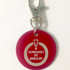 Round Powered by Insulin Medical Alert metal tag – Personalised option available