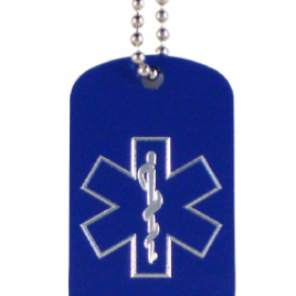 Personalised medical alert dog tag (other colours available)